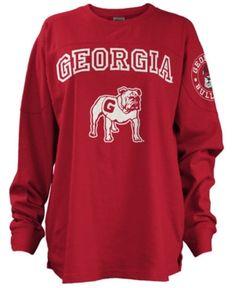 1d112348196 Pressbox Women s Georgia Bulldogs Long Sleeve Boyfriend T-Shirt - Red M  Georgia Bulldogs Shirt
