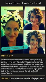 Paper Towel Curls Tutorial        You basically wash and comb your hair. Then you pick up sections of the hair, the smaller the section th...
