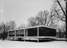 Black & White Architectural Photo    [64]    Kendall County, Illinois, USA | Farnsworth House | Mies van der Rohe