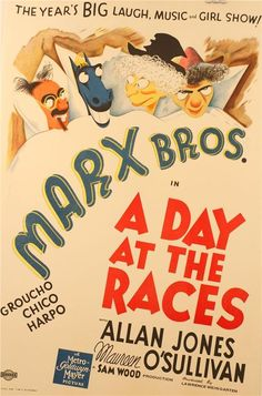 A Day At The Races Marx Brothers Vintage Movie Poster Lithograph Al Hirschfeld  #ArtDeco