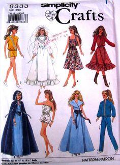 Simplicity 9838 8333 8797 Fashion Doll Clothes Wardrobe Dress Skirt Pants FF