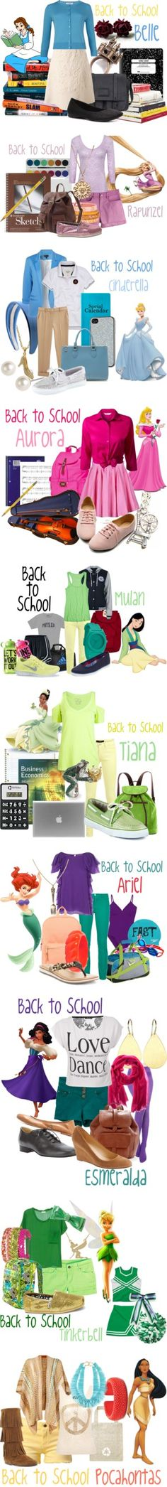 """Back to School Outfits"" Disney Princess Style"