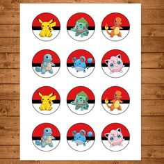 == Pokemon PRINTABLE Cupcake Toppers ==  Click Add to Cart now to add these fabulously fun Pokemon Cupcake Toppers to your party!  Please note that this is a Printable/Digital Product and that no physical items with be shipped to you. This item is an instant download, so that means no waiting to get your files! As soon as you purchase, youll get a link from Etsy that will allow you to download the item.  Each cupcake topper / sticker is 2 inches in diameter. There are 12 stickers per 8.5 x…
