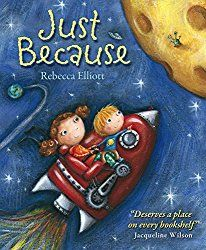 "Main character in a wheelchair. ""Just because"" repeated throughout the story."