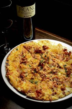 Vin de Set in St. Louis ~ Alsatian Tarte Flambe ~ applewood smoked bacon, caramelized onions, creme fraiche & gruyere
