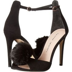 Chinese Laundry Jannet (Black Micro Suede) High Heels ($56) ❤ liked on Polyvore featuring shoes, sandals, black, black high heel sandals, open toe sandals, black platform shoes, black sandals and black platform sandals