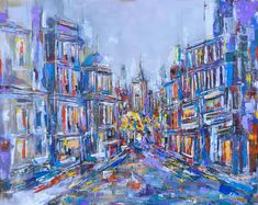 'Walking down Whitehall' - oil on canvas. An abstract interpretation of Whitehall, London. This piece has sold to a collector in Australia.