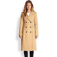 $895, Camel Coat: Smythe Reffer Double Breasted Coat Camel. Sold by Saks Fifth Avenue. Click for more info: http://lookastic.com/women/shop_items/134165/redirect