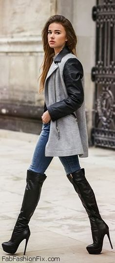 55 Ideas Of Outfit To Wear With Knee High Boots - Instaloverz Fashion Moda, New Fashion, Womens Fashion, Fashion Trends, Fall Fashion, Fashion Outfits, Fall Winter Outfits, Autumn Winter Fashion, Sexy Boots