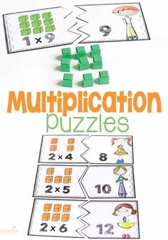 These multiplication puzzles for multiples of are great for helping kids visualize their multiplication facts. With arrays of math blocks on the puzzles, the kids can easily see what the problem means which makes these great for introducing multiplic Fractions, Multiplication Facts, Math Facts, Geometry Book, Math Activities For Kids, Addition Activities, Subtraction Activities, Teacher Resources, Math Blocks