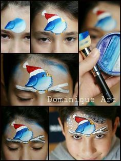 Bird tutorial facepaint / schmink vogel gepind door www.hierishetfeest.com