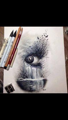 Dark nature, eye # art # sketch of crayons: - Top 99 Pencil Drawings Amazing Drawings, Easy Drawings, Amazing Art, Unique Drawings, Dark Art Drawings, Drawings Of Birds, Drawings Of Eyes, Cool Eye Drawings, Abstract Pencil Drawings