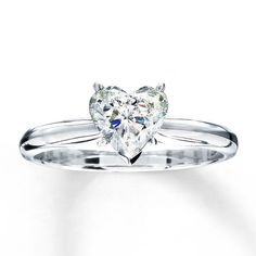 Jared - Diamond Solitaire Ring 1 carat Heart-Shaped 14K White Gold. The fiery beauty of this one carat heart-shaped diamond symbolizes everlasting love. This diamond engagement ring features an elegant 14K white gold band. $3,299.99 Added Via +Christmas button
