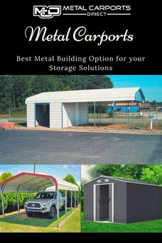 Shop our huge selection of high quality Utility Carports with Storage. Get top-rated, low cost all steel carports in Mount Airy with FREE delivery and installation! Metal Rv Carports, All Steel Carports, Metal Carport Kits, Carports For Sale, Carport With Storage, Metal Garages, Built In Storage, Secure Storage, Carport Designs