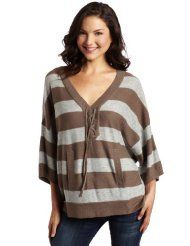 C California Womens Stripe Poncho Sweater