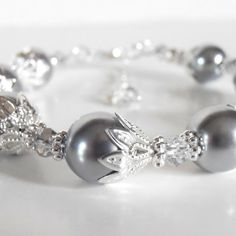 Pewter Gray Bridesmaid Jewelry Dark Grey Pearl by FiveLittleGems, $17.00