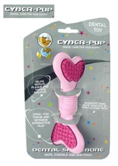 Cyber-Pup Puppy Dental Bone Toy Pink/Pink This interactive rubber toy was developed with veterinarians and is a 'throw and retrieve' dental care product for your dog. Many health problems stem from poor oral hygiene. Regular interactive play with this unique toy will solve most problems related to dog breath, loose teeth and gingivitis periodontal gum disease.
