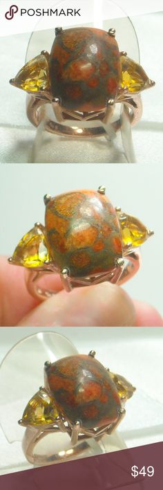 NWT Natural Mojave Turquoise & Citrine Ring Natural Mojave Orange Turquoise 12x15mm & Citrine, 18k Rose Gold Overlay Brass Size 7 Jewelry Rings