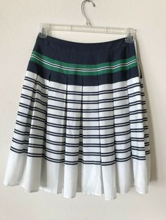 1d766a6f51 lands end pleated navy blue  green stripe shiffon skirt - xs  fashion   clothing