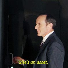 She's an asset. || Phil Coulson || AOS 1x01 The Pilot || 245px × 245px || #animated #quotes