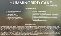 Hummingbird Cake Recipe Legend of the Hummingbird Cake A Victorian cake recipe that is truly exceptional. The perfect cake to take to gatherings…it's easy, freezes well serves many. Southern Desserts, Southern Recipes, Just Desserts, Cupcake Icing, Cupcake Cakes, Cupcakes, Sweets Recipes, Candy Recipes, Hummingbird Cake Southern Living