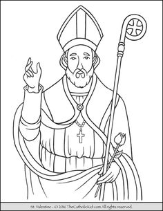 Saint Valentine Catholic coloring page for children II