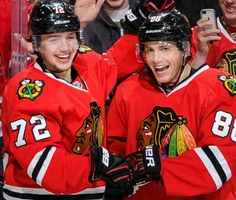 Brothers from other mothers: Artemi Panarin and Patrick Kane celebrate Panarin's goal #Blackhawks