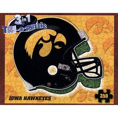 "Iowa Hawkeyes Helmet 3 in 1 Puzzle: Can you tackle it? Assemble the giant helmet shape, or the helmet with team logo, or flip the pieces over and put together the gridiron (field) design! 350 pieces make a finished 22"" x 18"" puzzle fit for every fan and alumni.  $15.99  http://www.calendars.com/Iowa-Hawkeyes/Iowa-Hawkeyes-Helmet-3-in-1-Puzzle/prod201000012429/?categoryId=cat00610=cat00610#"