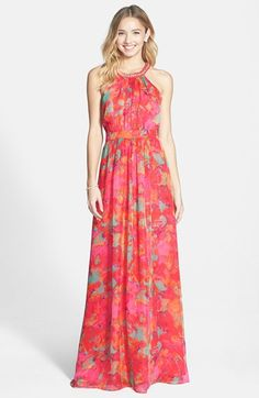 Red maxi dress for a summer wedding guest