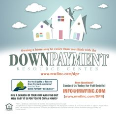 "Saving for a downpayment is the number one obstacle for people looking to own a home.  But what if you didn't need a big down payment? With the Down Payment Resource Center you can search online for the many local city and county specific #downpayment assistance programs that can help you own a home!   Check out what programs are available in your area! www.mwfinc.com/dpr   Do you know someone who's thinking about homeownership?  ""Like"" & ""Share"" to spread the word!"