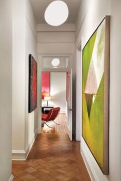 The contemporary hall of a century-old DC residence.
