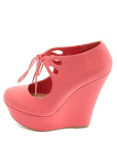 Cut-Out Lace-Up Mary Jane Platform Wedges  Charlotte Russe 61660fbe78e