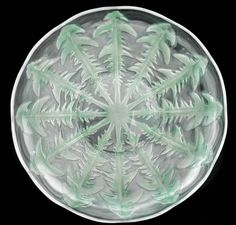 """RENE LALIQUE CLEAR AND FROSTED GLASS """"PISSENLIT NO.1"""" PLATE Model introduced 1921. Signed R. LALIQUE FRANCE"""