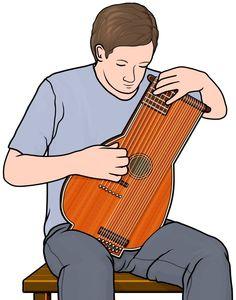 ステッセル・リュート(stoessel lute)を演奏する男性