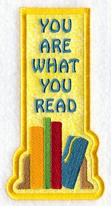 You Are What You Read Bookmark (Applique) (In-the-Hoop) design (Y1949) from www.Emblibrary.com