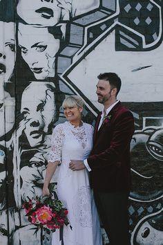 BRIANA + MATT // #wedding #bride #bridal #dress #gown #nevenka #flowers #peony #urban #romantic #melbourne #victoria #groom #suit #maroon #velvet #realwedding