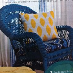 Spray Paint A Wicker Chair Navy Add Turquoise Yellow And Blue Accents
