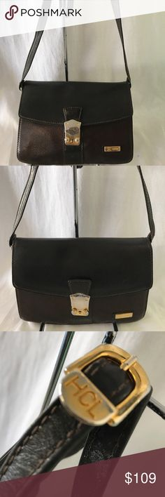 HCL Crossbody Looks beautiful,well made leather authentic HCL bag that has gentle used ,no tear or hole noted nor stain just has some tarnishing of metal noted. HCL Bags Crossbody Bags
