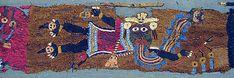 Embroidered Fragment with Figures Paracas culture Peru century BCE. Metropolitan Museum of Art online collection. Peru Culture, Maker Culture, Vintage Embroidery, Hand Embroidery, Nazca Peru, South American History, Inca Art, Hispanic Art, Peruvian Textiles