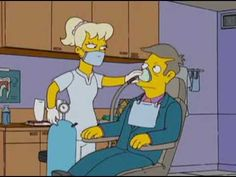 "Homer Simpson confronts his dental fear, Lisa gets mixed signals from an oral hygiene tape and ""Dr. Bart"" gives Principal Skinner a throat scraping. https://www.youtube.com/watch?v=guxDD-d2iKQ"