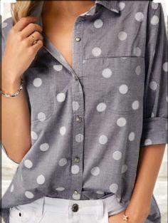 Tops For Women Turndown Collar Polka Dot Print Shirt Stylish Tops For Girls, Trendy Tops For Women, Blouses For Women, Polka Dot Blouse, Polka Dot Print, Polka Dots, Red Blouses, Shirt Blouses, Formal Blouses