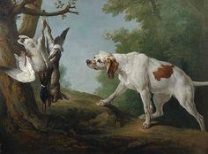 Jean-Baptiste Oudry, Chienne blanche à l'arrêt devant un lièvre et un col-vert, 1742, Huile sur toile, Collection « Rue Galliera »