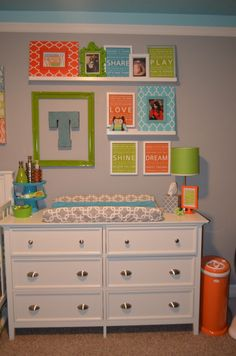 Love the letter in a frame idea! Cute boyish color theme. With yellow instead of orange