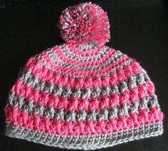 Juliet Hat  Crochet hat girls pink and grey hat by HollysHooksandLoops, $18.00