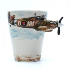 Airplane Spitfire Mug Hand Painting Coffee Cup Gifts Collectibles 0003