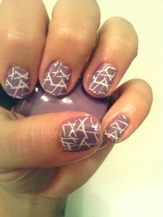 Lavander and white nails. Nice color combo/design.