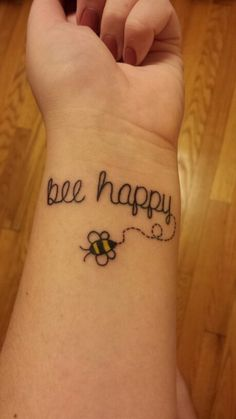 Bee happy tattoo simple fun tattoo