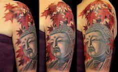 Buddha with Leaves Tattoo by Paris Pierides http://tattoopics.org/buddha-with-leaves-tattoo-by-paris-pierides/