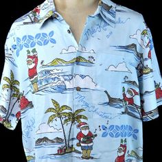 Santa Claus Surfer Ukelele Canoe Christmas Hawaiian Shirt Large New Quiksilver #Quiksilver #Hawaiian