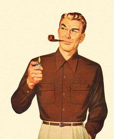 Pipe Guy - detail from 1950 Van Heusen gabardine shirt ad.